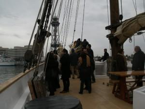 El Santa Eulàlia saliendo del puerto de Barcelona