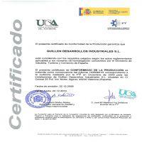 Certificación de Conformidad de la Producción de Guillen Desarrollos Industriales