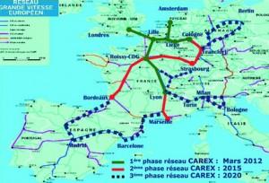 Ejes ferroviarios del proyecto CAREX