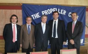 De izquierda a derecha: Albert Oñate (China Shipping), Antonio Combalía, Miquel Martí (FemCAT), Ferran Soriano y Pedro Maqueda (Cedinsa)