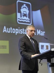 José Blanco durante su intervención en la inauguración de la autopista del mar