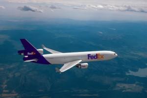 FedEx MD 11 in flight-mid res