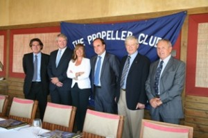 De izquierda a derecha: Albert Oñate, Luis Cleminson, Anna Mestre, Josep M Fortuny, Reinhard Sawatzki y Agustín Oleaga