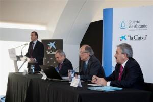 Miguel Campoy en su intervención, acompañado en la mesa por Rafael Simancas, Fernando González Laxe y Andrés Ayala