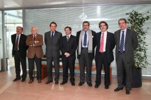 De izquierda a derecha: Joan Colldecarrera, Mariano Fernández, Sixte Cambra, Antonio Llobet, Xavier Vidal, Albert Oñate y José Alberto Carbonell